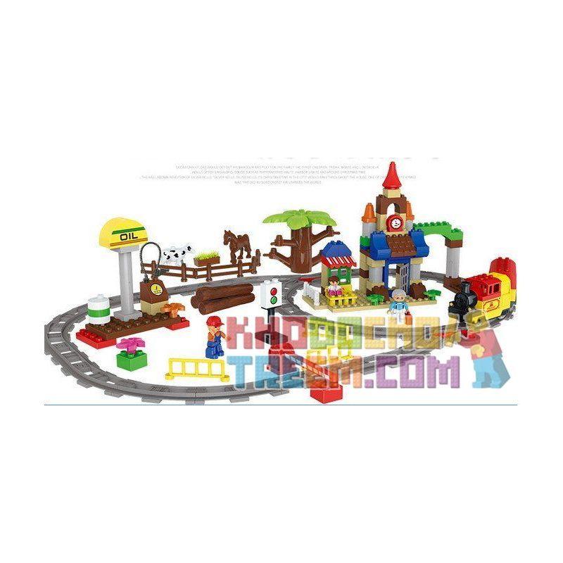 Huimei HM313 (NOT Lego Duplo 66494 Train 3 In 1 Pack ) Xếp hình Tàu Hỏa Cổ Động Cơ Pin Và Ray 2 Vòng Tròn Lồng Nhau 139 khối