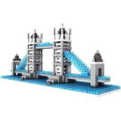 Nanoblock Architecture Loz 9371 London Tower Bridge Xếp hình cầu tháp Luân Đôn 570 khối