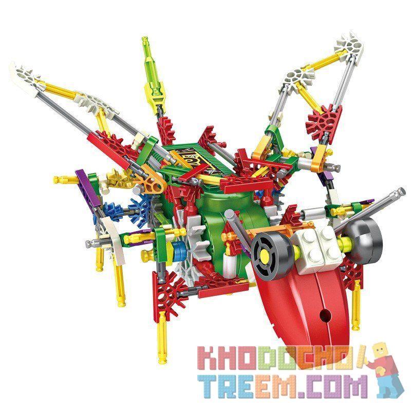 Loz 3021 (NOT Lego Jungle Robots Electric Grasshopper Robot ) Xếp hình Rô Bốt Châu Chấu Động Cơ Pin 156 khối