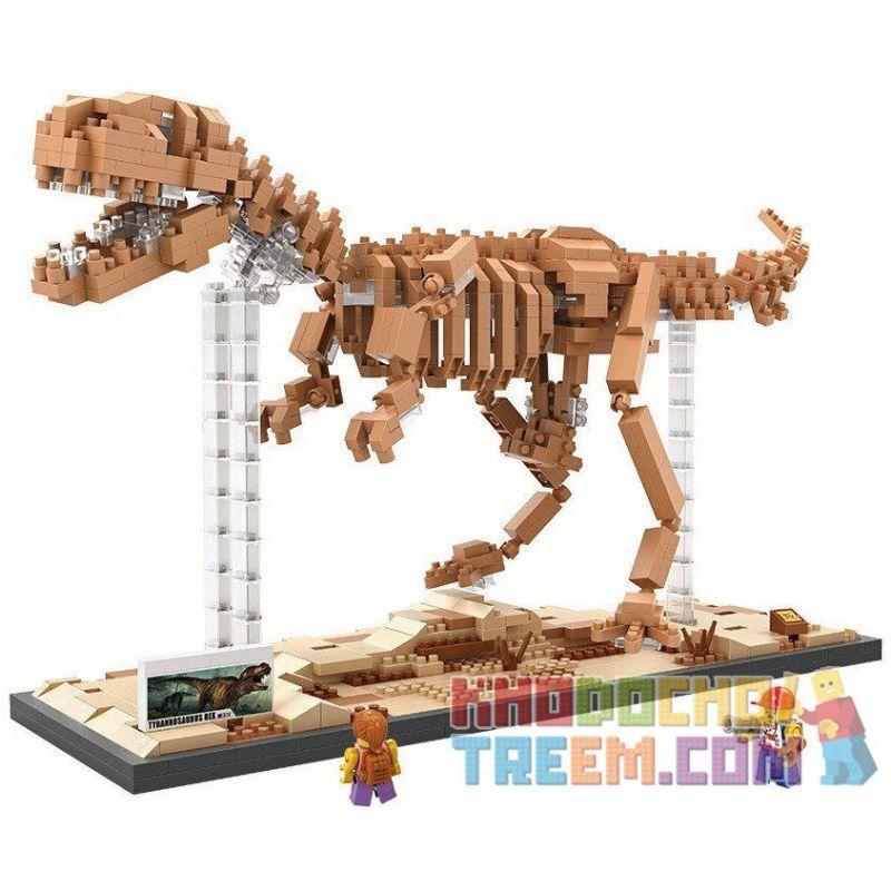 Loz 9023 Nanoblock Jurassic World Tyrannosaurus Rex Dinosaur Skeleton Xếp hình Hóa Thạch Khủng Long Bạo Chúa 880 khối