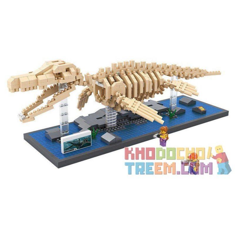Loz 9024 Nanoblock Jurassic World Mosasaurus Dinosaur Skeletons Xếp hình Hóa Thạch Thằn Lằn Biển Mosasaurus 740 khối