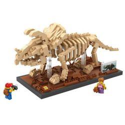 Nanoblock Jurassic World Loz 9025 Triceratops Fossil dinosaur Skeletons Xếp hình hóa thạch khủng long 3 sừng Triceratops Fossil 660 khối