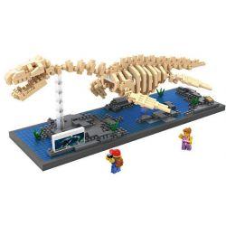 Nanoblock Jurassic World Loz 9027 Plesiosaurus Fossil dinosaur Skeletons Xếp hình hóa thạch thằn lằn cổ rắn Plesiosaurus Fossil 660 khối