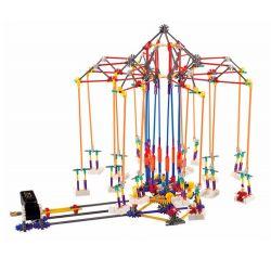 Lego Technic Loz 2025 P0007 Electric Amusement Park Super Swing Flying Chairs Xếp hình đu quay dây treo 8 ghế động cơ pin 620 khối
