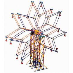 Lego Technic Loz 2026 P0001 Electric Amusement Park Double Star Ferris Wheel Xếp hình đu quay đứng hình sao 8 cánh động cơ pin 977 khối