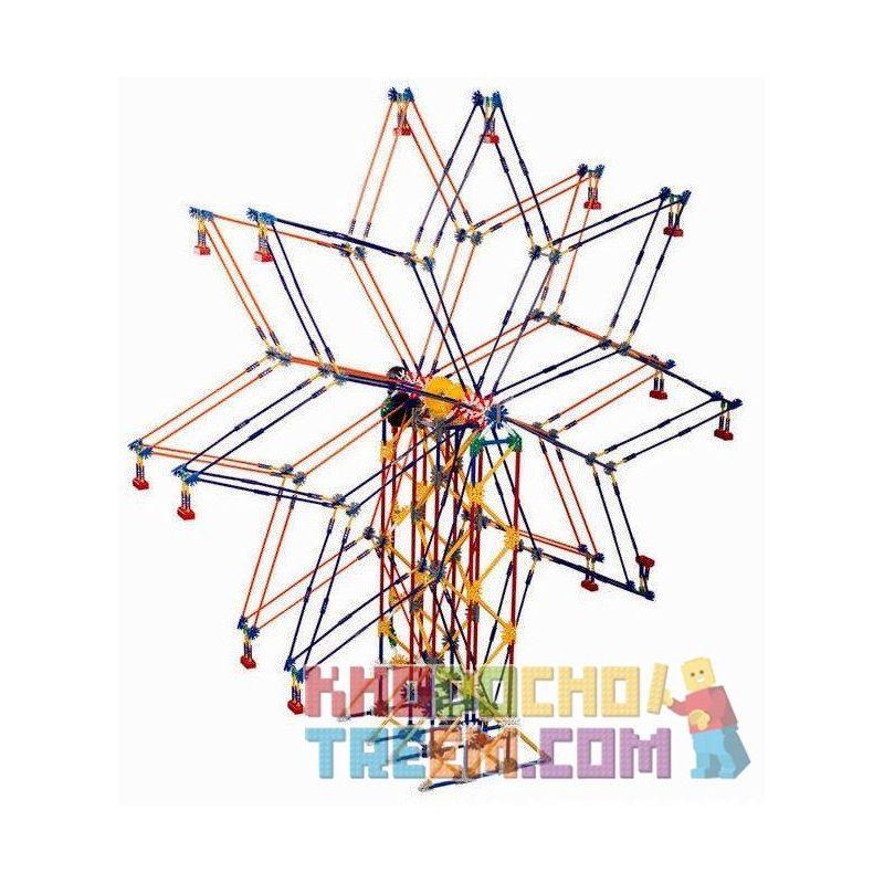 Loz 2026 P0001 (NOT Lego Loz Electric Amusement Park Electric Amusement Park Double Star Ferris Wheel ) Xếp hình Đu Quay Đứng Hình Sao 8 Cánh Động Cơ Pin gồm 2 hộp nhỏ 977 khối
