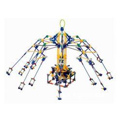 Lego Technic Loz 2027 P0003 Electric Amusement Park Rotary Giant Stride Swing Xếp hình đu quay dây văng 8 ghế động cơ pin 853 khối