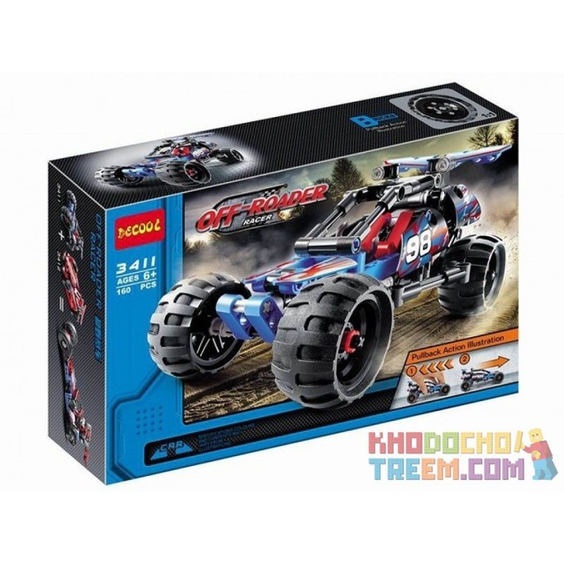 Decool 3411 Sheng Yuan 7010A (NOT Lego Technic 42010 Off-Road Racer ) Xếp hình Xe Đua Off Road Kéo Thả 160 khối