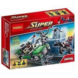 Decool 7104 Jisi 7104 LEPIN 07006 Xếp hình kiểu Lego MARVEL SUPER HEROES Spider-Man Spider-Cycle Chase Spider-Man Spider Locomotive Người Nhện đánh Nhau Với ác Nhện đen 237 khối