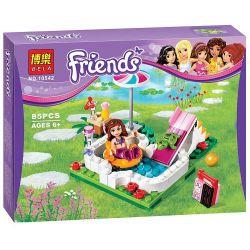 NOT Lego FRIENDS 41090 Olivia's Garden Pool, Bela 10542 Lari 10542 Xếp hình bể bơi trong vườn nhà Olivia 82 khối