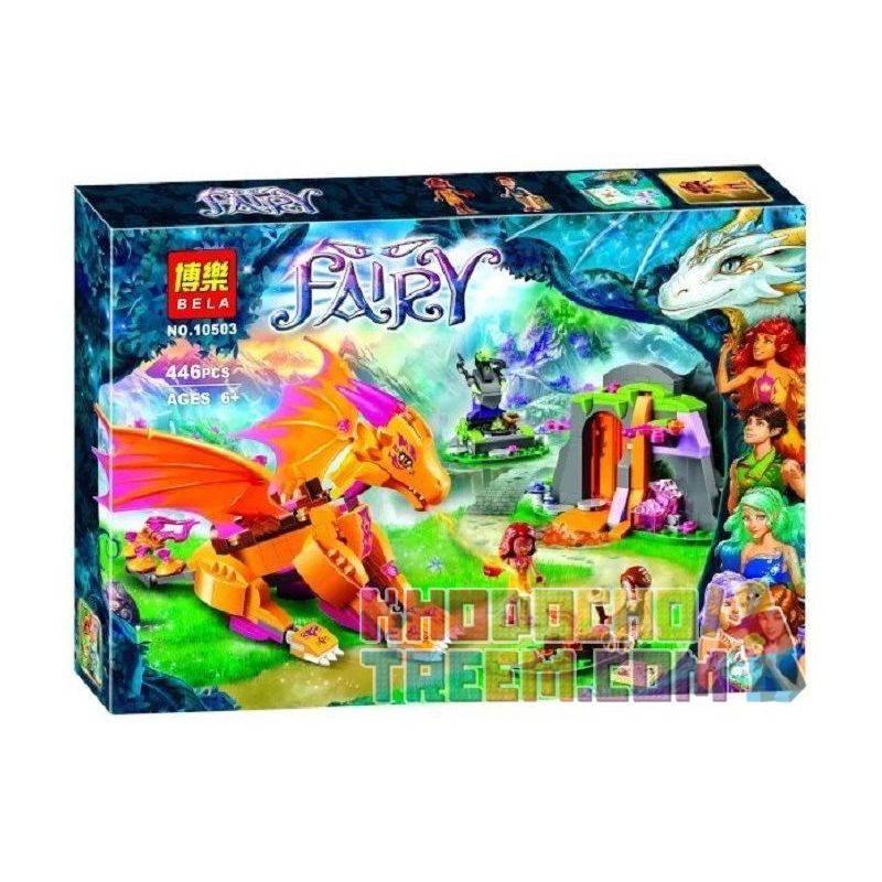 NOT Lego ELVES 41175 Fire Dragon's Lava Cave, Bela 10503 Lari 10503 Xếp hình hang nham thạch của rồng lửa 441 khối