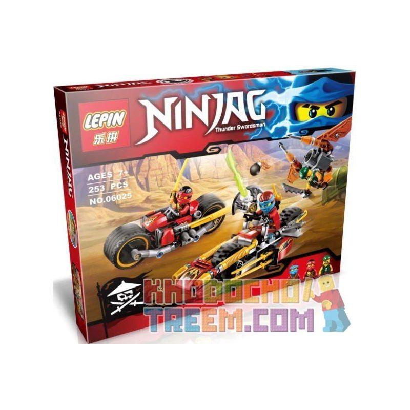 Lepin 06025 Bela 10444 Lele 79228 79197 (NOT Lego Ninjago Movie 70600 Ninja Bike Chase ) Xếp hình Truy Đuổi Bằng Mô Tô Địa Hình 253 khối