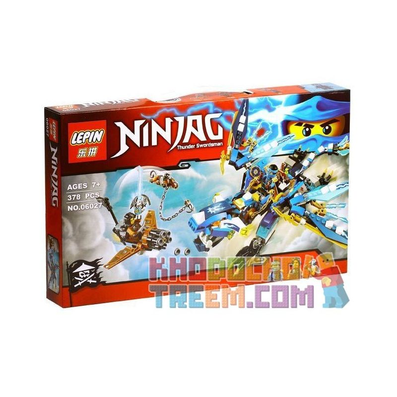 Lepin 06027 Bela 10446 Sheng Yuan 531 SY531 Lele 79230 (NOT Lego Ninjago Movie 70602 Jay's Elemental Dragon ) Xếp hình Rồng Sét Của Jay 378 khối