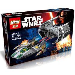 LEPIN 05030 Xếp hình kiểu Lego STAR WARS Vader's TIE Advanced Vs. A-wing Starfighter Vigda TIE Advanced Fighter Confrontation A-wing Star Fighter đuổi Bắt Phi Thuyền Chiến đấu Cánh Chữ A 702 khối