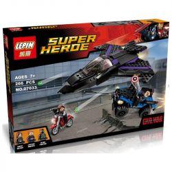 Decool 7122 Jisi 7122 LEPIN 07033 SHENG YUAN SY 581 SY581 Xếp hình kiểu Lego MARVEL SUPER HEROES Black Panther Pursuit Panther Chasing đuổi Theo Phi Thuyền Báo Đen 287 khối
