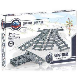 Kazi KY98215-1 KY98215-3 (NOT Lego City 7895 Switching Tracks ) Xếp hình Bộ Ray Tàu Hỏa Cong Và Chuyển Làn gồm 2 hộp nhỏ 8 khối