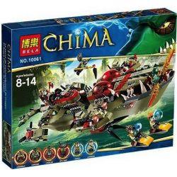 Bela 10061 Lari 10061 Xếp hình kiểu Lego LEGENDS OF CHIMA Cragger's Command Ship Qigong Legend Crocodation Commander Tàu Chỉ Huy Của Cragger 609 khối