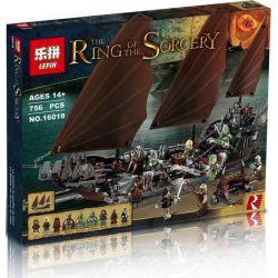BLANK 80035 FXZ 112502 LEPIN 16018 Xếp hình kiểu Lego THE LORD OF THE RINGS Pirate Ship Ambush Refers To The Ring King Ghost Pirate Ship Thuyền Chở đạo Quân Người Chết 756 khối