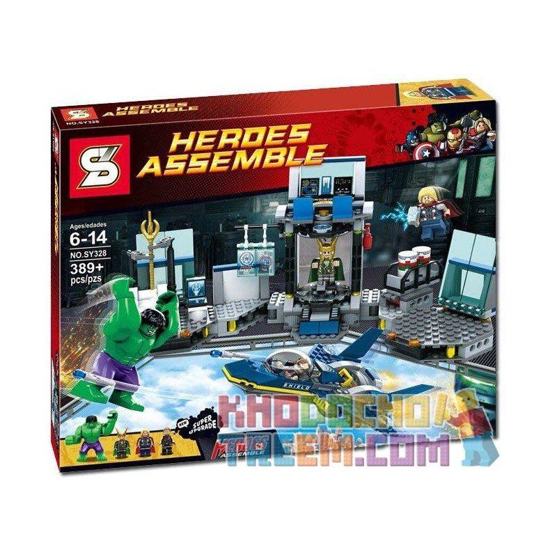 Sheng Yuan 328 SY328 (NOT Lego Marvel Super Heroes 6868 Hulk'S Helicarrier Breakout ) Xếp hình Hulk Thoát Khỏi Phi Thuyền 389 khối
