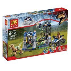 LELE 79180 Xếp hình kiểu Lego JURASSIC WORLD Raptor Escape Jurassic World Shui Jun Long Escape Chạy Trốn Khỏi Khủng Long Chim Ăn Thịt 394 khối