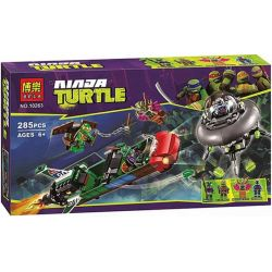 Bela 10263 Lari 10263 Xếp hình kiểu Lego TEENAGE MUTANT NINJA TURTLES T-Rawket Sky Strike Ninja Turtle Space Battle Máy Bay Tiêm Kích T-Rawket 286 khối