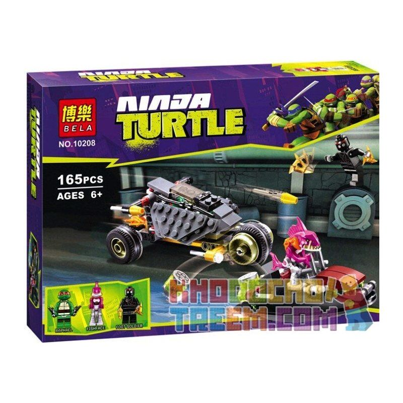 NOT LEGO Teenage Mutant Ninja Turtles 79102 Stealth Shell in Pursuit, BELA LARI 10208 Xếp hình Stealth Shell trong Pursuit 162 khối