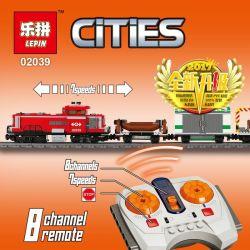 NOT LEGO City 3677 Red Cargo Train, Lepin 02039 Xếp hình Tàu Hỏa Chở Hàng Màu đỏ điều Khiển Từ Xa 831 khối điều khiển từ xa