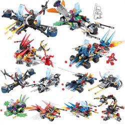 SHENG YUAN SY 714 SY714 Xếp hình kiểu Lego SUPER HEROES Civil War Spider-Man Eight-in-One Car 8 bộ xếp hình nhỏ chủ đề người Nhện về nhà gồm 2 hộp nhỏ 893 khối
