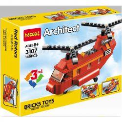 Decool 3107 (NOT Lego Creator 31003 Red Rotors ) Xếp hình Trực Thăng Vận Tải, Máy Bay Thể Thao, Xuồng Cao Tốc 145 khối