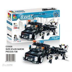 WOMA C0535 0535 Xếp hình kiểu Lego SWAT SPECIAL FORCE SWAT Boat Car Ô tô kéo xuồng của lính đặc nhiệm 738 khối