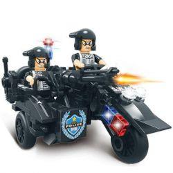 WOMA C0512B 0512B Xếp hình kiểu Lego SWAT SPECIAL FORCE SWAT 3 In 1 Sidecar Mô tô 3 bánh lính đặc nhiệm 143 khối