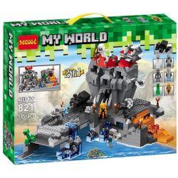 Decool 821 Jisi 821 Xếp hình kiểu Lego MINECRAFT My World 3D立体实景史蒂夫勇闯蜘蛛城 2in1 My World Steve Brave Spider City Đảo đầu Lâu 600 khối