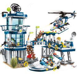 Enlighten 1916 Qman 1916 Xếp hình kiểu Lego Police Battle Force Policemen Rescue Plan - Jailbreak Đồn Cảnh Sát đường Thủy 565 khối