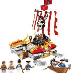 Enlighten 1312 Qman 1312 Xếp hình kiểu Lego PIRATES OF THE CARIBBEAN Legendary Pirates Legendary Pirate Armle Warruily Chiến Thuyền Rồng Của Cướp Biển 464 khối