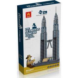 Wange 8011 5213 (NOT Lego Architecture The Petronas Towers ) Xếp hình Tháp Đôi Petronas gồm 2 hộp nhỏ 1160 khối