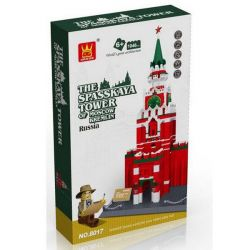 WANGE DR.LUCK 5219 8017 Xếp hình kiểu Lego MINI MODULAR The Spasskaya Tower Of Moscow Kremlin Russia Moscow Kremlin Tower Tháp Chuông Spasskaya 1048 khối