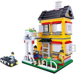 WANGE DR.LUCK 31052 Xếp hình kiểu Lego CITY INN CityInn Small Villa Series B Yellow Garden Villa Biệt Thự Màu Vàng 390 khối