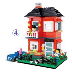 WANGE DR.LUCK 31054 Xếp hình kiểu Lego CITY INN CityInn Small Villa Series D Red Garden Villa Biệt Thự Màu đỏ 355 khối