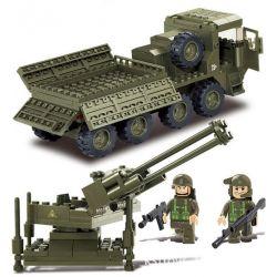 SLUBAN M38-B0302 B0302 0302 M38B0302 38-B0302 Xếp hình kiểu Lego LAND FORCES 2 Army Force II Heavy-duty Transport Vehicle, Artillery Car Xe Tải Chở Súng Hạng Nặng 306 khối