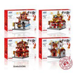 Xingbao XB-01101 (NOT Lego Zhong Hua Street ) Xếp hình Tiệm Thuốc, Khách Điếm, Tiệm Trang Sức, Lò Rèn 1393 khối