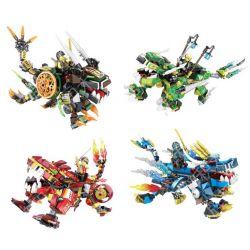 Sheng Yuan 919 SY919 (NOT Lego Ninjago Movie God Beast Mount 4 Cracked Summon Beast, Flame Summon Beast, Sword Scale Summon Beast, Blast Summon Beast ) Xếp hình Quái Thú Bạo Chúa Kết Hợp: Quái Thú Hệ