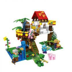 SHENG YUAN SY 853 SY853 Xếp hình kiểu Lego MINECRAFT The Jungle Tree House Ngôi nhà trên cây trong rừng gồm 2 hộp nhỏ 447 khối
