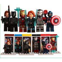 Decool 0250 0251 0252 0253 0254 0255 Jisi 0250 0251 0252 0253 0254 0255 Xếp hình kiểu Lego MARVEL SUPER HEROES American Captain 3 Civil War Party 6 6 Nhân Vật Siêu Anh Hùng gồm 6 hộp nhỏ