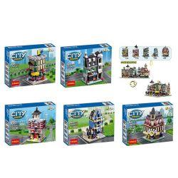 Decool 1105 1106 1107 1108 1109 Jisi 1105 1106 1107 1108 1109 Xếp hình kiểu Lego PROMOTIONAL Mini Modulars Mini Town Building Group Green Grocer Cafe Corner Fire Brigade Grand Emporium Market Street 1