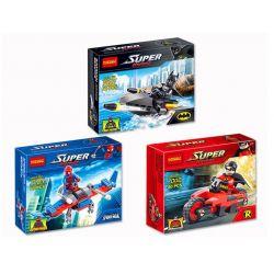 Decool 7001 7002 7003 (NOT Lego DC Comics Super Heroes 30160 30302 30166 Batman Jetski Spider-Man Robin And Redbird Cycle ) Xếp hình Siêu Anh Hùng Batman Spider Man Robin Hội Tụ gồm 3 hộp nhỏ 125 khối