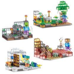 LELE 79272 Xếp hình kiểu Lego MINECRAFT MY WORLD Luminous Crystal Version Of The Scene 4 Lâu đài Thạch Anh