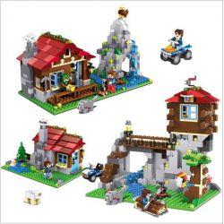 LELE 33018 Xếp hình kiểu Lego MINECRAFT The Mountain House Deformation 3 In 1 Nhà trên núi 592 khối