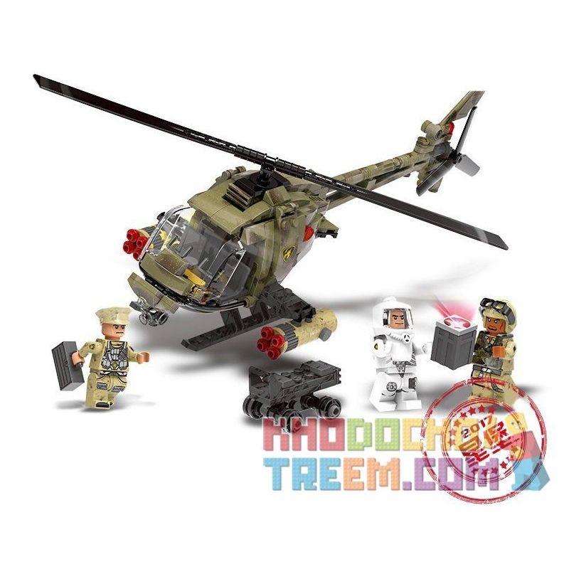 Xingbao XB-06013 (NOT Lego Across The Battlefield Light Hawk Helicopter ) Xếp hình Trực Thăng Chiến Đấu Hạng Nhẹ 621 khối