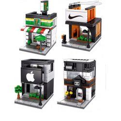 Sembo SD6014 SD6015 SD6016 SD6017 (NOT Lego Mini Modular Sevel - Nike - Apple Store - Gucci ) Xếp hình Chuỗi Cửa Hàng Bán Đồ Cao Cấp gồm 4 hộp nhỏ 546 khối