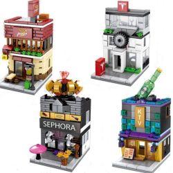 Sembo SD6018 SD6019 SD6020 SD6021 (NOT Lego Architecture Sephora, Pizza, Auto 4S, Ktv Shop ) Xếp hình Thành Phố Thương Mại Trên Phố Nhỏ gồm 4 hộp nhỏ 654 khối